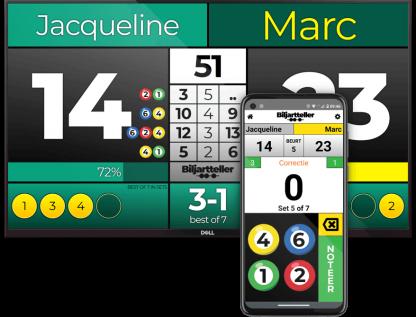 Biljart scorebord 5 Ball variant met sets en visuele weergave van de geraakte ballen - Biljartteller
