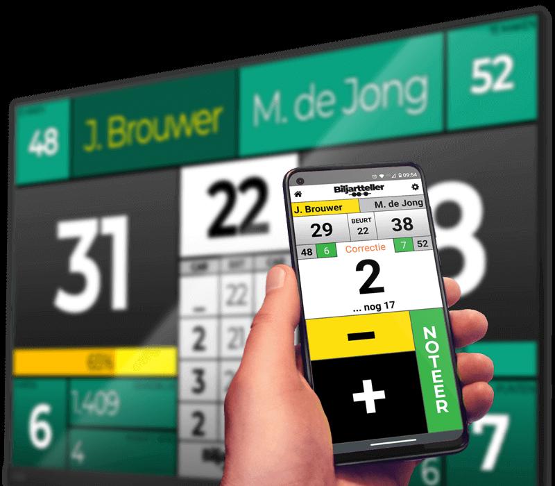 Digitaal of elektronisch biljart scorebord met gratis app bediening van Biljarttellert