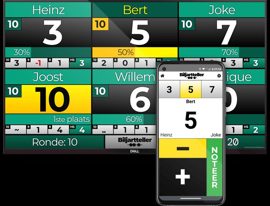 Biljart scorebord Groepsspel variant voor bijvoorbeeld 10 over Rood. - Biljartteller